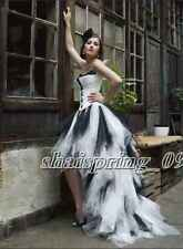 High Low Gothic Black White Tulle Fomal wedding dress Bridal Gown Custom Size