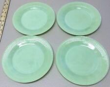 """Set of 4 Vintage Fire King Jane Ray Jadeite Jadite 7 3/4"""" Salad Plates Oven Ware"""