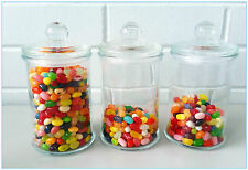 3 X Glass Apothecary Candy Lolly Buffet Jar Candle Waxing Wedding Party 660 ML
