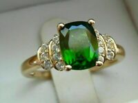 2 Ct Cushion Cut Green Emerald & Diamond Solitaire Ring 14k Yellow Gold Over