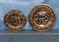 Vintage England Brass Wall Plaque Lot Hanging Embossed Relief Well Hearth dq