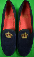 Carroll & Co Navy Velvet English Slippers w/ Crown Bullion Motif Sz: 11-1/2