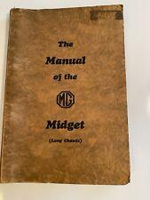 Mg Pre-War Midget 8/33 Long Chassis Instruction Manual Original 2/1932