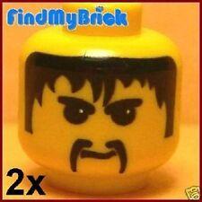 H027A 2x Lego Moustach Fu Manchu Minifigure Head Black Hair Pattern 7417 NEW