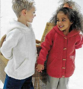 "Boys Girls Hooded Jacket Coat Sweater Hoody KNITTING PATTERN Chunky 22 - 32"""