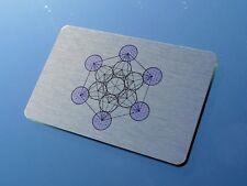 """Elegante """"Metatron Cubo 'Portafoglio inserire arte in metallo spazzolato 8.5x5.5cm"""