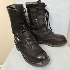 Double H Boots Road Logger Boots Black Buckle Motorcycle Zipper Wide M7.5EE=W9.5