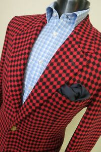 Gianni Versace Couture made in Italy Early 90's Red/ black check sport coat 40 R