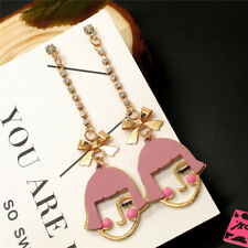 New Betsey Johnson Pink Straight Bangs Girl Chain Crystal Stand Earrings Gift