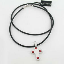 Striking BARAKA 18K White Gold Rubber Coral Bead Necklace w/ Cross Pendant