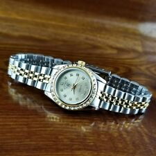 New Womens Wrangler Gold & Silver Swarovski Crystal Presidential Bracelet Watch