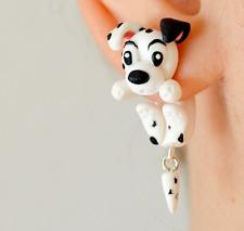 Dalmatian earrings dog two part earrings front back earrings clinging earrings