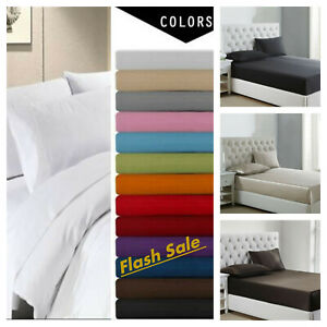 Flat Sheet Collection 1900 Count Wrinkle Free Soft Solid Bed Top Sheets
