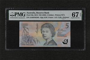 1992 Australia Reserve Bank 5 Dollars Pick#50a PMG 67 EPQ Superb Gem UNC
