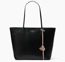 Kate Spade Karla Flower Dangle Felicity Street Black Leather Tote WKRU5716