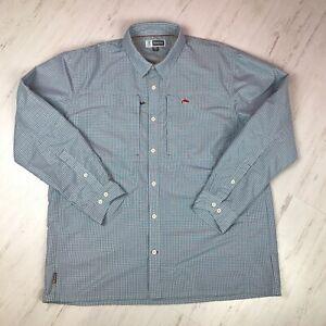 Simms Button Down Shirt Blue Check L/S Fishing Vented Mens Size 2XL