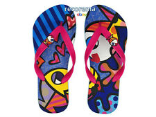 "ROMERO BRITTO FLIP FLOPS SIZE: 5/6  ""DEEPLY IN LOVE""   ** NEW **"