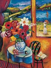 Oleg Nikulov- Flower Vase with Countryside View | Giclee on Canvas Signed | COA