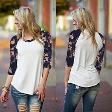 POP Fashion Women Long Sleeve Shirt Casual Lace Blouse Loose Cotton Tops T-Shirt