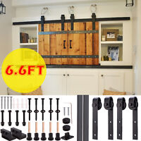 5/6/6.6FT Rustic Sliding Barn Wood Double Door Closet Cabinet Hardware Track Kit