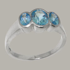 Solid 925 Sterling Silver Natural Blue Topaz Womens Trilogy Ring - Sizes J to Z