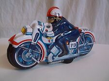 Tin Toy POLICE MOTORCYCLE w/ Friction Motor Sounds Made in Japan No. 51 Wind Up