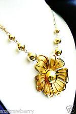 Metal Dorado Flor Collar Cadena Colgante Bonito