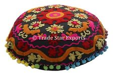 "Authentic Suzani Pillow Case 16"" Vintage Embroidered Cotton Round Cushion Cover"