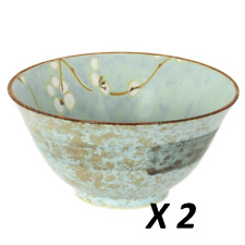 "2 PCS. Japanese 5.25""D Soup Rice Bowl UME Plum Cherry Blossom /Made in Japan"