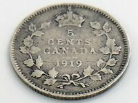 1919 Canada Small Five 5 Cent Silver Circulated Canadian George V Coin I835