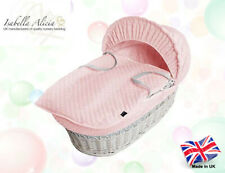 Isabella Alicia Designer White Wicker Moses Basket with Pink Dimple Dressing
