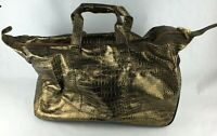 The Find - Gold Faux Leather Crocodile Embossed Travel Bag Wheels Handbag
