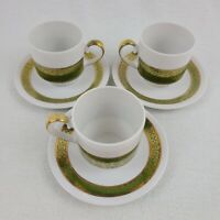 Set Of 3 Vintage Winterling Bavaria Demitasse Cups Saucers Green And Gold Design
