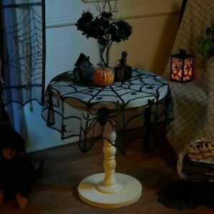 """40"""" Halloween Black Lace Spider Web Table Round Tablecloth Home Table Decor USA"""