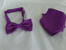New<GG> Cadbury Purple Mens Polyester ready pre-tied Bow tie and Hankie Set