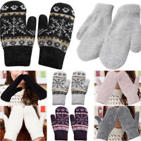 Womens Knitted Thermal Mittens Snowflake/Plain Nordic Winter Warm Casual Gloves