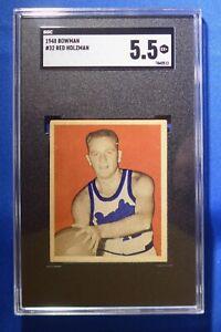 WILLIAM RED HOLZMAN HOF 1948 Bowman SGC Graded 5.5 (EX+) Rochester Royals #32