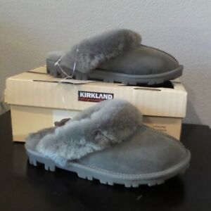 Women's Kirkland Signature Shearling Stone Gray Clog Slipper Shoes Suede Size 7