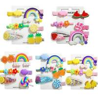6Pcs Girls Baby Fruit Hair Clips Snap Kid Hair Bow Hairpin Barrettes Accessories