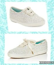 Keds Women's x Kate Spade New York White Glitter Sneaker Shoes Sz 6