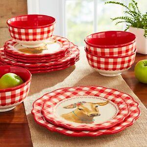 🔥🔥 Pioneer Woman 12-Piece Gingham Red Cow Dinnerware Set NIB
