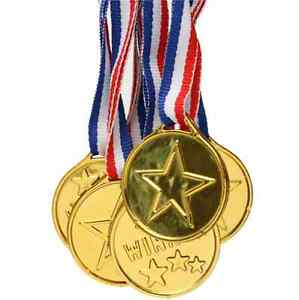 Winners Medals Kids Children Gold Plastic Sports Day Party Bag Prize Awards Toys