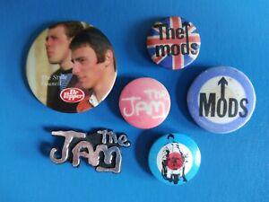6 x ORIGINAL BADGES 1970s / 1980s - THE JAM / MODS / STYLE COUNCIL