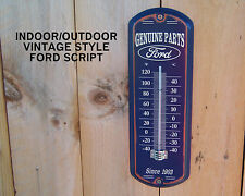 New Ford Genuine Parts Galvanized Metal Thermometer Vintage Style Blue Sign Auto