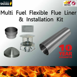 10m of 6 inch Flexible flue liner & installation kit FOR WITH CHIMNEY POT