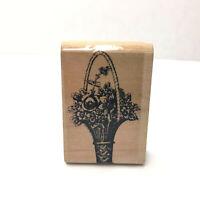 Floral Flower Basket Craft Mounted Rubber Stamp