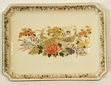 Vintage Ceramic Serving Dish Japanese Floral w/ Peacocks   Exceptional