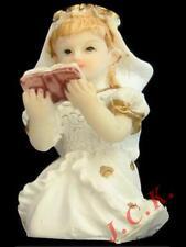 Resina pequeña niña con la Biblia Sagrada Comunión Pastel Cupcake Topper Decoración