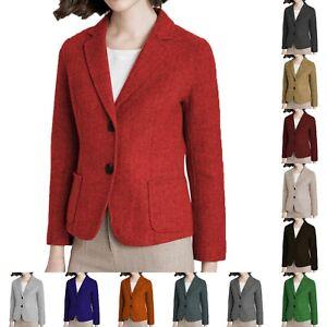 Casual Womens Suits Jacket Tweed Blazer Herringbone Coat Vintage Wool Workwear +