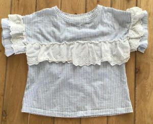 Girls Next Blue & White Striped Top Age 7 Years